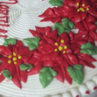 Poinsettia Cake I made this cake for a needy family's Cristmas celebration. The cake was red velvet with cream cheese frosting. The poinsettias and...