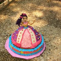 Disney Princess Cake This is the first time I've ever made a doll cake. It was for my friend's 4-year old daugher. It's a vanilla cake with...