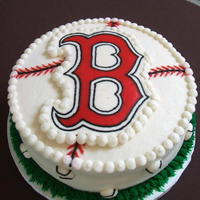 "Groom's Cake This is a Boston Red Sox chocolate cake with bavariam cream filling, covered with BC. The ""B"" I made using FBCT method. Thanks..."