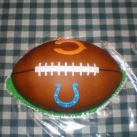 Colts And Bears woot woot !! my first super bowl cake!!!!!! all fondant and airbrushed. you cant tell but it was a 3D cake