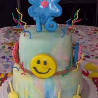 Lily's Birthday Cake Chocolate cake with caramel filling, chocolate buttercream and tie dyed marshmallow fondant for SIL's 16th birthday. Sugar cookies...