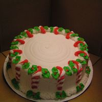 Candy Cane Cake All Buttercream! I work in a bakery at a casino & pretty much self taught myself how to decorate cakes! With the help of this site &amp...