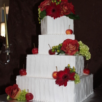 "Fall Wedding Cake 4"", 6"", 8"", 10"" Sour cream apple coffee cake and pumpkin spice cake with cream cheese filling, iced in buttercream...."