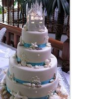 Seashell Castle Cake   MMF, White chocolate shells