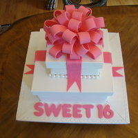 Brooke's Cake Two tier gift box cake for a friends daughter. The mom wanted a cake that would compliment the birthday gift, which was a white jeep with a...