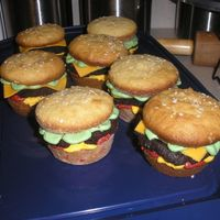 Hamburger Cupcakes  My favorite part about these is they're all gluten-free! GF cupcake for the buns, smashed brownie for the burger, fondant cheese and...