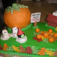 Great Pumpkin  this cake was originally done by BEVERLY. I have an aunt who is a huge Snoopy fan, so when we had a weenie roast for all the October...