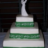 Wedding Colors Were White And Green Green fondant ribbon was decorated to match design on wedding dress