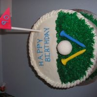 Golf Cake White cake with buttercream icing. Made this for my brother in laws's grandpa who was turning 90.