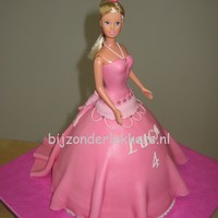 Pink Doll Cake   the dress has a detailed back as in the old western movies.