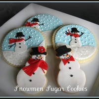 Snowmen The snow, eyes, buttons and nose are royal icing - the rest is fondant. Adapted from some of the many snowman scene cookies on CC and...