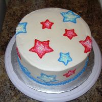 America Cake!   My first time trying brush embroidery. Yellow cake with vanilla BC, chocolate pudding filling. TFL!