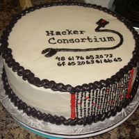 "Computer Cake I made this for my BF and his associates. The numbers underneath the group's logo is computer code for ""Have some cake"". I..."