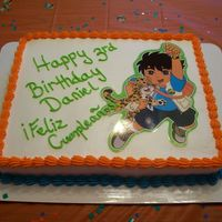Diego My son's birthday cake. It isn't anything great, but he loved it! I ran out of ink for my edible printer so I laminated a picture...
