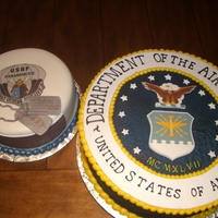 Air Force  For a young man entering the service to become a pararescue in the Airforce. All lettering on the larger cake is freehand piped and the...