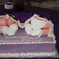 Twins!   Baby shower cake for twins, all edible including baby behinds and custom blanket :)