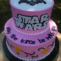 "Star Wars In Pink 8"" chocolate cake, 6"" WASC with lemon curd filling. Buttercream Dream frosting. Fondant accent. Made for a 5 year old girl that..."