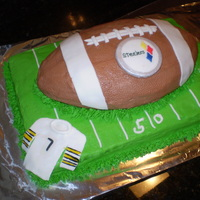 Steelers Cake This was for a Steelers fan. It is a marble cake with Almond buttercream icing and Fondant accents Thanks for looking