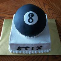Eightball Made for a party at the local pool hall. Bottom cake was white and 8 ball was chocolate covered in black fondant.