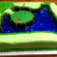 Sawgrass I made this for my brother the green and some of the fairway is cake while the rest of the boundary is RKT, I used Isomalt for the water(...