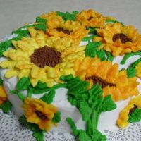 Sunflower Cake   All buttercream. Thanks to Peggy Weaver for the inspiration! I'm new at this but I just keep practicing!
