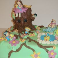 Enchanted Forest a birthday cake for my niece who loves these characters from a different cartoons. fondant cake with all fondant characters