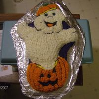 Haunted Pumpkin This was from the Haunted Pumpkin Pan by Wilton. The cake wanted to fall apart on my, so I had to improvise some on the details. This was...