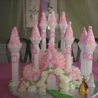 Pink Castle Cake I made this castle cake using a basket weave on both tiers. I then added white roses all around