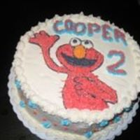 Elmo Cake This cake was made using a piping gel transfer technique