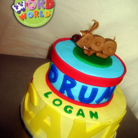 "Word World D-O-G! The little guy's favorite character..D-O-G!6"" and 9"" cake, iced in buttercream w/ fondant accents."