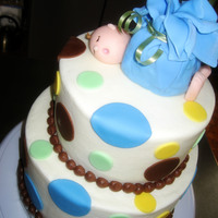 "Baby In A Bundle 6"" chocolate and 8"" yellow cakevanilla buttercreamFondant accents"