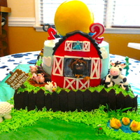Farm Animal Cake For granddaughters 2nd birthday she wanted a farm animal cake and toy story cake. So on one side I made the barn and animals all out of...