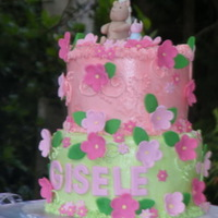 Classic Pooh And Piglet 1St Birthday Cake 1st Birthday cake for my baby girl. Both tiers are chocolate mud cake and filled with ganache and raspberry IMBC and covered in IMBC. It...