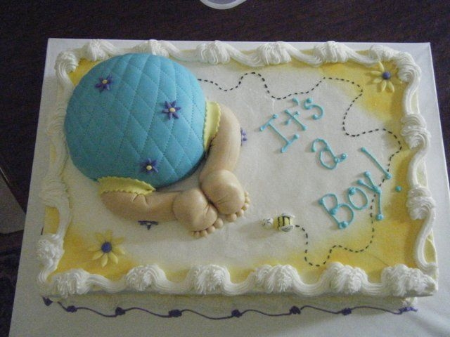 Baby Rump W/bee My first baby rump cake; the client loved it so much she cried, and gave me a tip! Thanks to everyone here for this design inspiration. It...