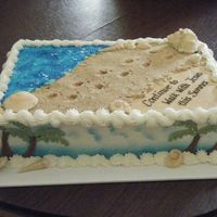 Footprints Cake 10x15x3, all buttercream. Water is piping gel, shells are candy coating (white) with luster dusts. Sand is brown sugar, vanilla wafers and...