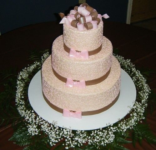 Pink, Ivory, Brown Ivory icing, with pink cornelli lace and brown fondant ribbon borders. All fondant is 50/50 mix with gumpaste. I pearlized the cake (...