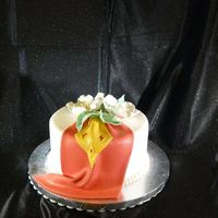 Red Drape& Flowers Made this dummy cake as a display for My Fondant & Gumpaste class as an incentive that they too can do cakes that look as good as their...