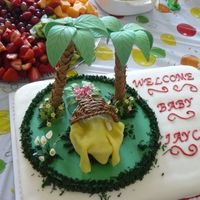 Curious George Theme Cake is a baby in a tropical setting with Curious George, But George was a no-show, he kept cracking and breaking as he dried so we had to...