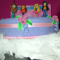 Bratz Chocolate cake with rolled fondant. Bratz figures are hand painted cut outs.