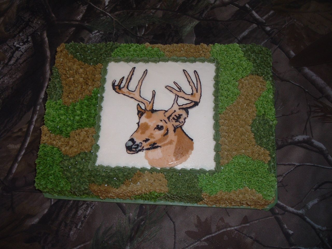Camo Deer Groom's Cake All buttercream