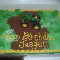 "John Deere Birthday The green is sprayed on. The ""dirt"" is crushed Teddy Grahams. The tractor is just a toy mom bought to sit on top. We ""drove&..."
