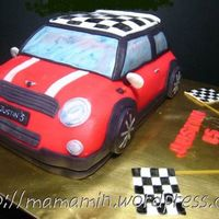 Mini Cooper My first car cake. It was a challenge and I loved it! Decorated with fondant