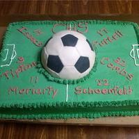 Chs Soccer Team Seniors  This is a cake I made for the Connersville High School Soccer Team Seniors. The sheet cake was 1/2 yellow and 1/2 chocolate and the soccer...