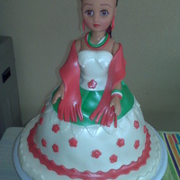 Mexican Doll   Pecan cake with fondant decoration I made this doll for a Mexican party (quinceanera)