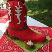 Cowboy Boot Did this for a little boy's first birthday. The cake is covered in red fondant with fondant/bc accents. I had a horrible time with the...