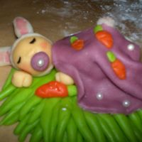 Baby Bunny Made of Marzipan. This one goes to my daughters ½-year cake. Sorry very bad english. ^^