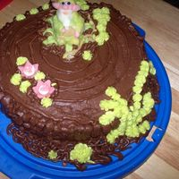 Fantasy-Forrest Cake. There's another cake. Troll is all marzipan, also flovers. Everything else is buttercream. I myself think that its not so pretty that...