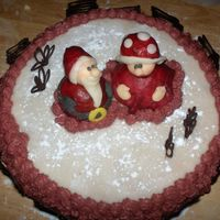 "Merry X-Mas My friend came to visit, and i did this cake for them. ""snow"" marzipan and sugar, santa and he's wife are marzipan. Seem&#..."