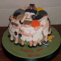 Rugby Cake just managed to salvage this. it was supposed to be a 3D rugby ball cake which went horribly wrong hence they ended up with players in a...