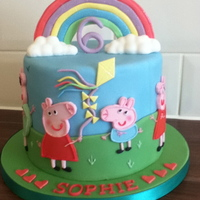 Peppa Pig the rainbow on this cake was made with pastillage x
